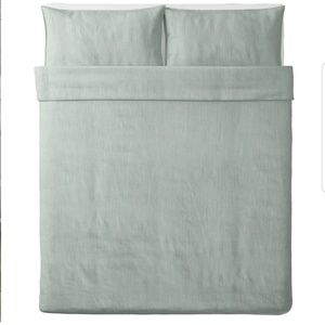 NEW IKEA Mossflox Duvet Quilt Cover w// 2 Pillowcases Blue multicolor Full Queen